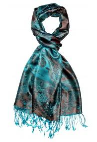 Men's Shawl 100% Silk Paisley Cyan Bronze LORENZO CANA