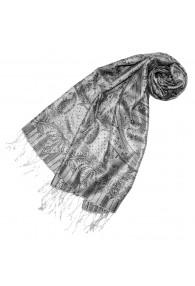 Scarf 100% Silk Paisley Grey Silver for Women LORENZO CANA