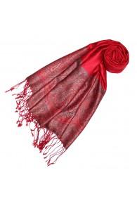 Scarf 100% Silk Paisley Red Dark Grey for Women LORENZO CANA