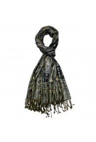 Shawl Silk Wool Paisley Navy Gold For Men LORENZO CANA