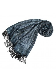 Pashmina Seide Wolle Paisley blau grau schwarz LORENZO CANA