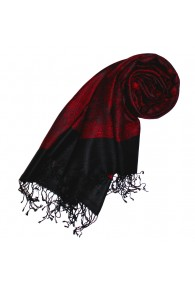 Shawl Silk Wool Paisley Red Black For Women LORENZO CANA