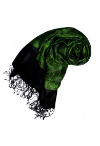 Shawl Silk Wool Paisley Green Black For Women LORENZO CANA
