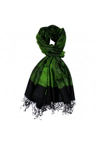Shawl Silk Wool Paisley Green Black For Men LORENZO CANA