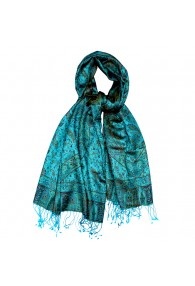Shawl Silk Wool Paisley Cyan Bronze For Men LORENZO CANA