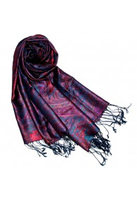Women's Pashmina 100% Silk Paisley Purple Magenta LORENZO CANA