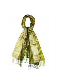 Men's Shawl 100% Silk Paisley Green Bronze LORENZO CANA