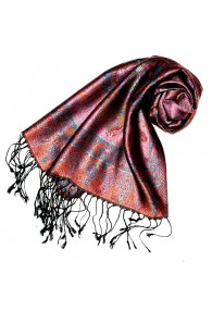 Women's Pashmina 100% Silk Paisley Purple Orange LORENZO CANA