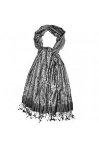 Men's Shawl Silk Viscose Paisley Grey Silver LORENZO CANA