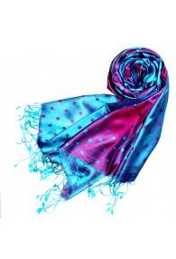Women's Shawl Silk Viscose Polka Dot Cyan Magenta LORENZO CANA