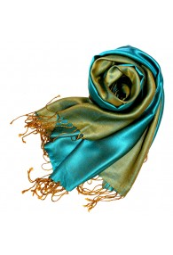 Women's Shawl Silk Viscose Bicolored Cyan Green LORENZO CANA