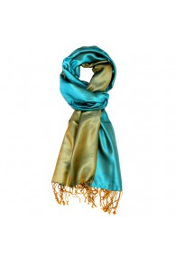 Men's Shawl Silk Viscose Bicolored Cyan Green LORENZO CANA