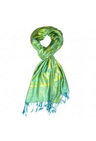 Men's scarf 100% Viscose Paisley Turquoise Lime Blue Yellow LORENZO CANA