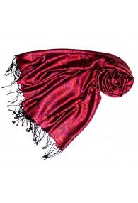 Women's Pashmina 100% Silk Paisley Violet Crimson LORENZO CANA