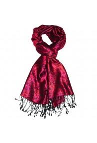 Herrenschaltuch 100% Seide Paisley violett rot rosenrot LORENZO CANA