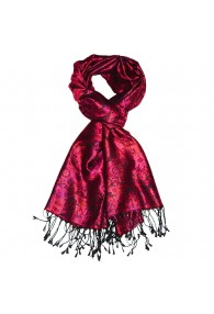 Men's Shawl 100% Silk Paisley Violet Crimson LORENZO CANA