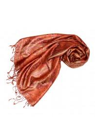 Women's Pashmina 100% Silk Paisley Orange Rust LORENZO CANA
