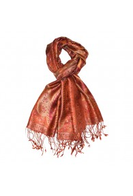 Men's Shawl 100% Silk Paisley Orange Rust LORENZO CANA