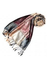 Women's Pashmina 100% Silk Paisley Beige Burgundy LORENZO CANA
