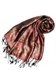 Women's Pashmina 100% Silk Paisley  Brown Red LORENZO CANA