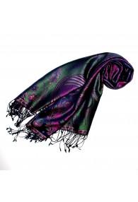 Pashmina scarf for women 100% Silk Paisley Purple Green LORENZO CANA