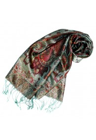 Women's Pashmina 100% Silk Paisley Mint Brown LORENZO CANA