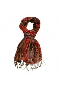 Shawl Silk Wool Paisley Red Brown For Men LORENZO CANA