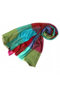 Pashmina 100% Cashmere Checkered Multicolor For Women LORENZO CANA