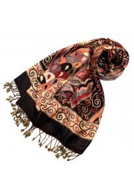 Women's Pashmina 100% Viscose Floral Brown Red LORENZO CANA