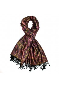 Shawl Silk Wool Paisley Purple Gold For Men LORENZO CANA
