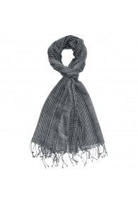 Scarf Wool Checkered Black White For Men LORENZO CANA
