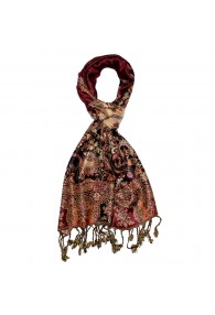 Men's Scarf 100% Viscose Paisley Burgundy Brown LORENZO CANA
