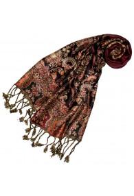 100% Viscose Schal Floral braun rot beige LORENZO CANA
