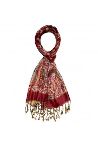 Scarf 100% silk Paisley Red Beige Blue For Men LORENZO CANA
