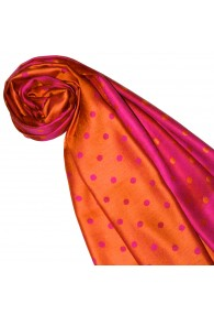 Women's Shawl Silk Viscose Polka Dot Orange Magenta LORENZO CANA