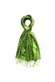 Men's Shawl Silk Viscose Polka Dot Green Dark Green LORENZO CANA