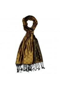 Men's Shawl Silk Viscose Polka Dot Gold Black LORENZO CANA