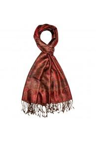 Men's Shawl 100% Silk Paisley Rust Brown LORENZO CANA
