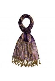 Shawl 100% Viscose Paisley Purple Gold For Men LORENZO CANA