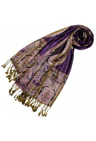 Pashmina 100% Viscose Paisley Purple Gold For Women LORENZO CANA