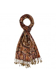 Shawl 100% Viscose Paisley Brown Orange For Men LORENZO CANA
