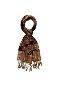 Scarf  100% silk Paisley Orange Beige Brown For Men LORENZO CANA