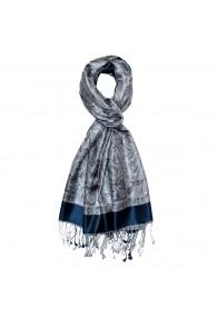 Men's Shawl 100% Silk Paisley Blue Silver LORENZO CANA