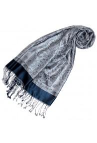 Women's Pashmina 100% Silk Paisley Blue Silver LORENZO CANA