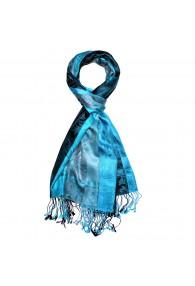 Men's Shawl 100% Silk Paisley Blue Cyan LORENZO CANA