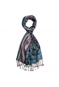 Men's Shawl 100% Silk Paisley Blue Magenta LORENZO CANA