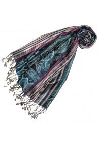 Women's Pashmina 100% Silk Paisley Blue Magenta LORENZO CANA
