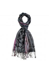 Men's Shawl 100% Silk Paisley Black Magenta LORENZO CANA
