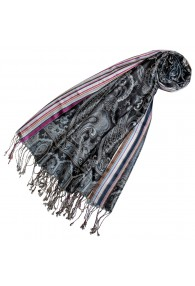 Women's Pashmina 100% Silk Paisley Black Magenta LORENZO CANA