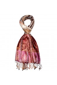 Men's Shawl 100% Silk Paisley Gold Rose LORENZO CANA